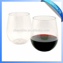 Stemless Plastic Wine Glasses, Stemless Shatterproof Wine Glass, Stemless Drink Glass (CL-WC004)