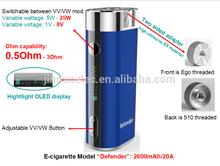 Ecig mod defender mini 30w mod with 18650 battery e cigarette mod heatvape defender