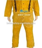 Split cowhide Leather Welding Pants with adjustable suspenders