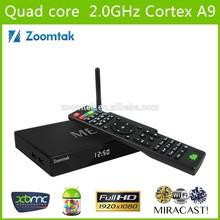 Zoomtak M8 Quad Core 4K Android 4.4 tv Box XBMC live streaming tv box 13.2 pre-installed google 4.4 internet tv box arabic iptv