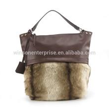 New high end ladies fashion wholesale faux fur handbag 2015 Women hobo bag