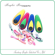 2015 Plastic colorful compass promotional pen with rope