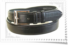 hot sell embossed genuine leather belt with metal buckle