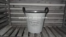 metal antique galvanized round bucket with words embossed