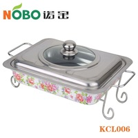 Flower Design Stainless Steel Buffet Stove with Shelf
