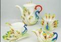 nueva llegada de diseño especial de café de cerámica conjuntos de pavo real