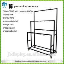 Metal material supermarket women slipper shelf/fabric display rack/t-shirt display rack