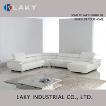 LS207 latest big U shaped sectional genuine leather sofa