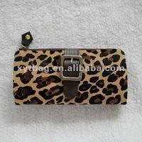 Leopard print design ladies fashion leather wallts