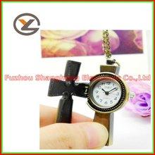 Novel Fashionable Antique Bronze Cross Quartz Lady Necklace Pocket Original Watches