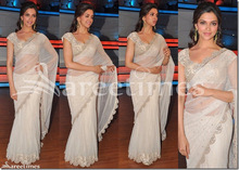 deepika padukone white saree