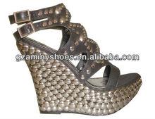 High heel wedge sandals with studs