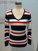 Stripe pullover sweater ,Corn yarn sweater ,long sleeve Women v neck sweater with buttons for spring,autumn and winter in 2012