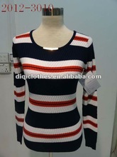 Stripe pullover sweater ,Corn yarn sweater ,long sleeve Women o neck sweater with buttons for spring,autumn and winter in 2012