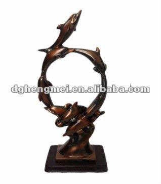 Abstracta escultura de resina, delfines resina