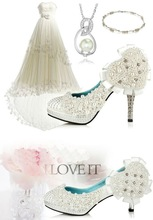 new sexy fashion pearl decorated heart-shaped 10cm high heel wedding bridal shoes for Marriage gauze