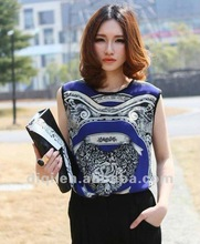 most popular ladies 100% chiffon tank tops/T-shirt (Nations style/Bohemian Style)