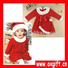 OXGIFT Christmas Baby Girl Red Winter Dress with Hat Clothing Set 1-3Y