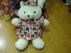 beautiful plush teddy bear with printed one-piece dress