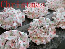 Christmas red green dots shabby chiffon flowers ,shabby rose trim