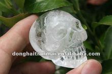 COLLECTIBLE Natural Crystal Skull/ Beautiful Clear and Smokey Quartz Crystal Carved Crystal Skull