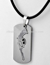 Stainless Steel / Black Cord / Revolver Pendant / Texas Theme / Men's Necklace
