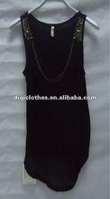 lady black chiffon sexy one-piece dress