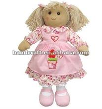 Trapo de algodón de la muñeca de la flor con la olla delantal