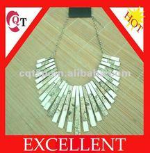 4 Colors Hot Fashion Golden Chain Colorized Strips Oil Drop Pendant Necklace