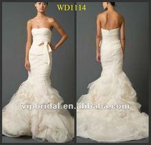 2012 meimaid with skirt fashion orange and white wedding dresses