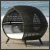 GH-BED-1205,Wicker/Rattan Outdoor Daybed,All Weather Garden Patio Sunbed,Leisure Double Bed with Canopy,Resin Wicker Lounger Bed
