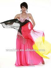 2012 hot selling Wholesale 100% China silk fans Belly Dance silk Fan veils DJ1022
