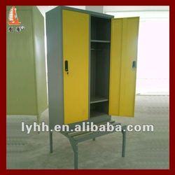 Durable Yellow 2 door metal gym locker room bench in Fitness Center