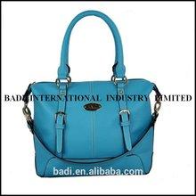 guangzhou blue tote fashion women leather bag detachable shoulder strap bag handbag manufacturer