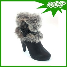 Fashion Fuzzy Collar With High Heel And Platform Boot For Woman