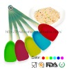 5 pcs different color silicone spatula with metal long stainless steel handle