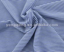 Superb Blue And White Stripe Printed High End Mesh Fabric