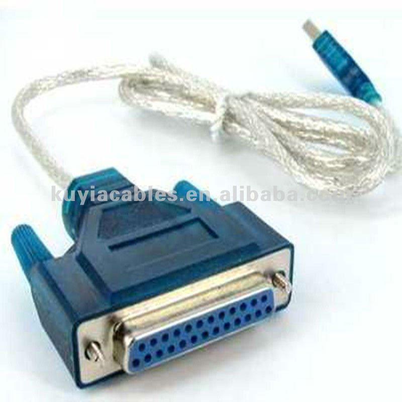 Usb para serial DB25 25Pin macho porta paralela cabo de impressora cabo adaptador de computador