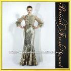 Hot Sale Long Sequin Ruffled Lace High Neck Evening Dress Long Sleeve