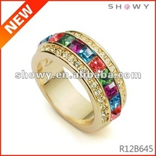 Fashion clover crystal ring, fashion exotic gold rings