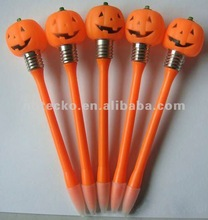 Halloween Pumpkin shape Led light Plastic ball pen