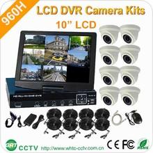 """10""""LCD cheap h.264 4ch dvr combo cctv camera kit"""