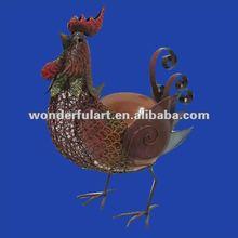 garden decoration cock figurine metal iron rooster art