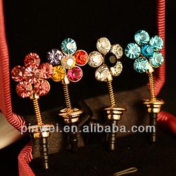 Hot selling 3.5mm Cz Rhinestone Flower anti dust ear cap DP90943