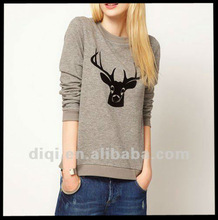 Spring/autumn/winter casual sample o-neck long sleeve pullover deer head print hoody,apparels,tops,clothes