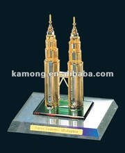 Twin tower crystal building model for souvenir