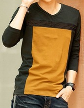 long sleeve t-shirt for men colorblock t shirt long sleeve blank tee