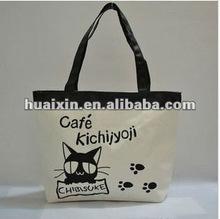 Cute black cat canvas shopping bag for girl