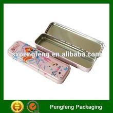 rectangular pencil tin box with hinge