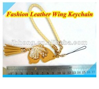 2015 Fashion leather Butterfly Wing keychain with tassel and rhinestone